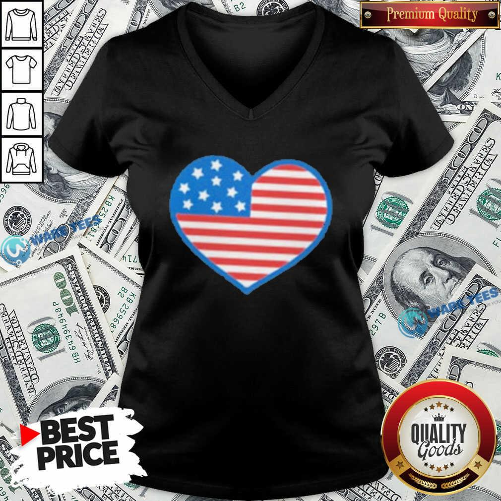 Heart American Flag 2021 V-neck- Design by Waretees.com