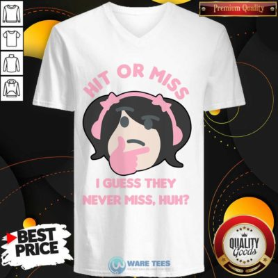 Premium Hit Or Miss I Guess They Never Miss Huh Nyan Nyan Cartoon V-neck - Design by Waretees.com