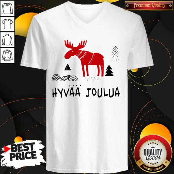Premium Hyvaa Joulua Merry Christmas V-neck - Design by Waretees.com