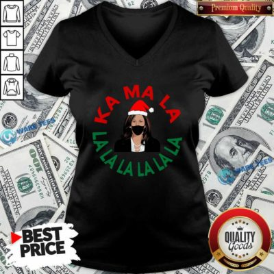 Kamala Momala Kamala Harris Mask Christmas V-neck- Design by Waretees.com