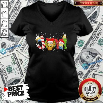Premium Minions Joy Christmas V-neck - Design by Waretees.com