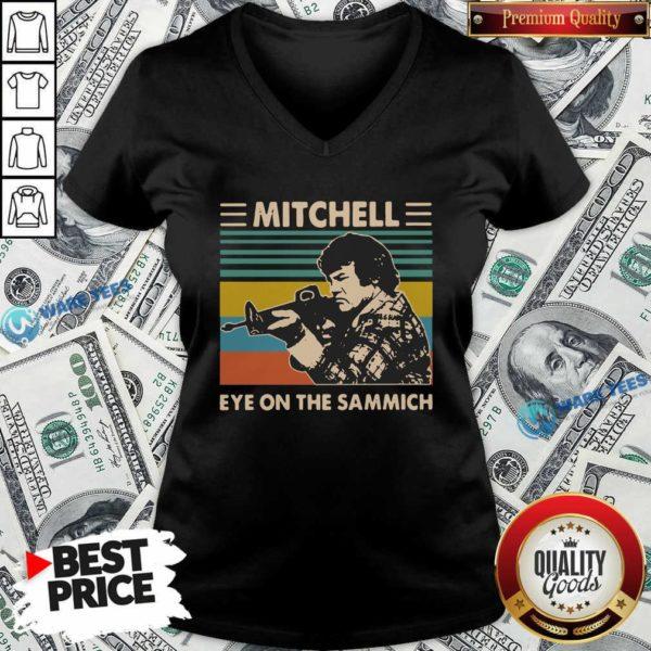 Mitchell Eye On The Sammich Vintage V-neck- Design by Waretees.com