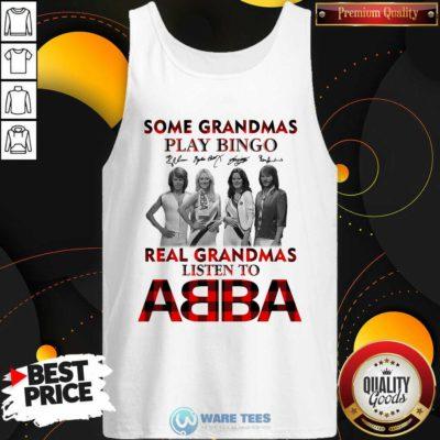 Plaid Some Grandmas Play Bingo Real Grandmas Listen To ABBA Signature Tank-Top- Design by Waretees.com