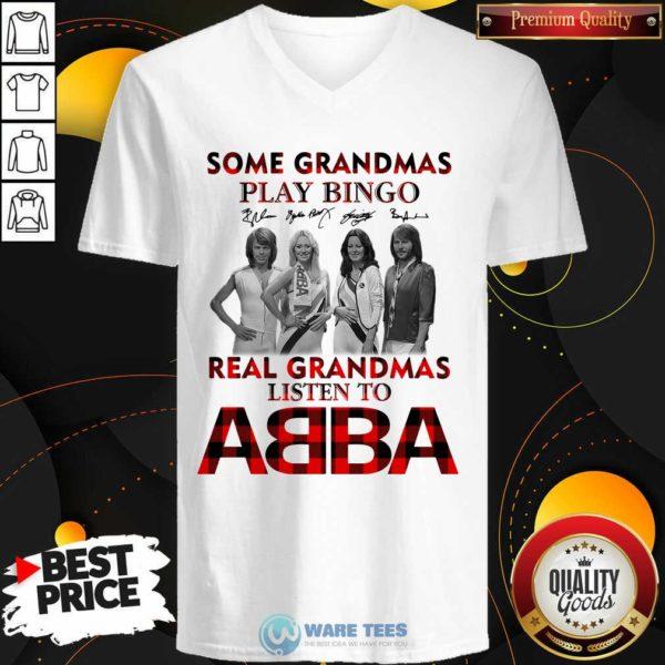 Plaid Some Grandmas Play Bingo Real Grandmas Listen To ABBA Signature V-neck- Design by Waretees.com