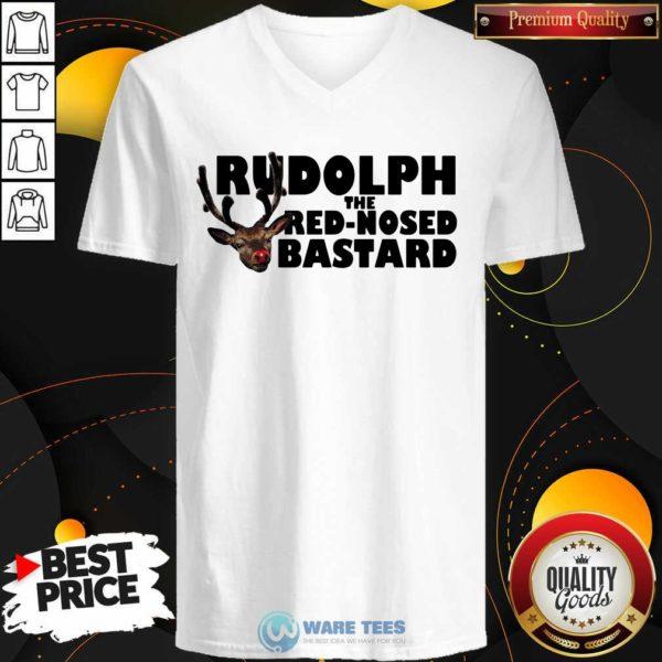 Premium Rudolph The Red Nosed Bastard V-neck - Design by Waretees.com