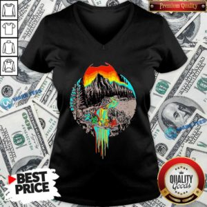 Premium Volcanoes Overflowing Dancing Bear Grateful Dead V-neck - Design by Waretees.com