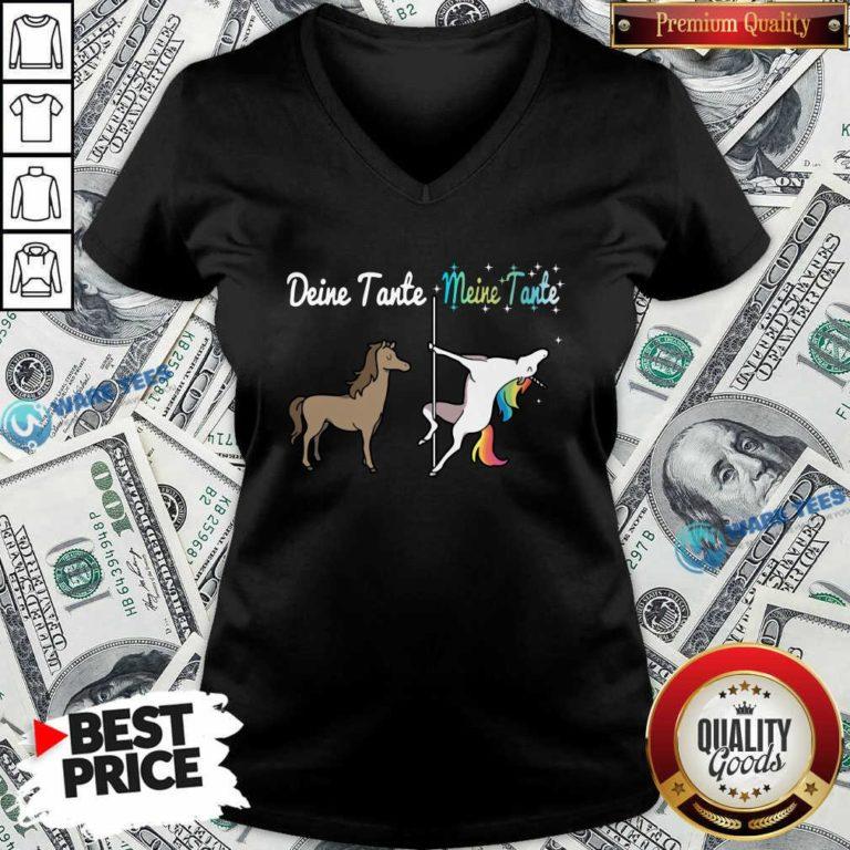 Deine Tante Meine Tante Unicorn Funny V-neck- Design by Waretees.com