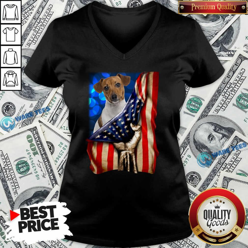 Jack Russell Terrier America 4th Of July Independence Day V-neck- Design by Waretees.com