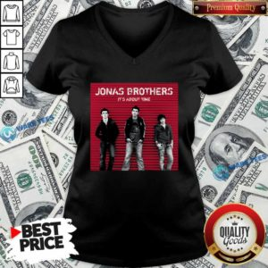 Jonas Brothers It's About Time V-neck- Design by Waretees.com