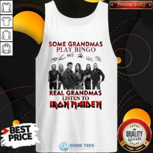 Plaid Some Grandmas Play Bingo Real Grandmas Listen To Iron Maiden Signature Tank-Top- Design by Waretees.com