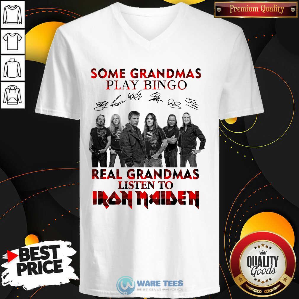Plaid Some Grandmas Play Bingo Real Grandmas Listen To Iron Maiden Signature V-neck- Design by Waretees.com