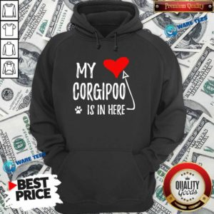 Red Heart My Corgipoo Is In Here Corgipoo In My Heart Dog Mom Hoodie - Design by Waretees.com
