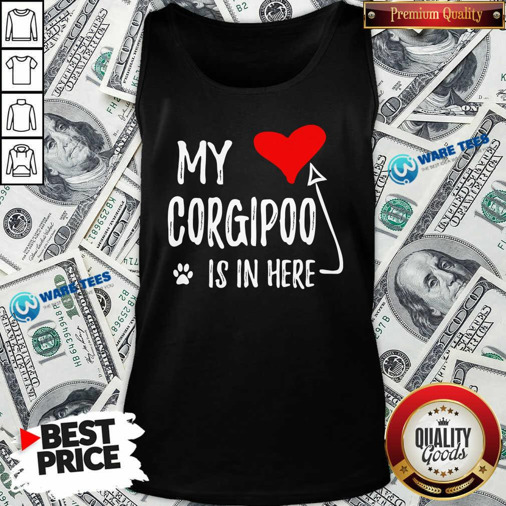 Red Heart My Corgipoo Is In Here Corgipoo In My Heart Dog Mom Tank Top - Design by Waretees.com