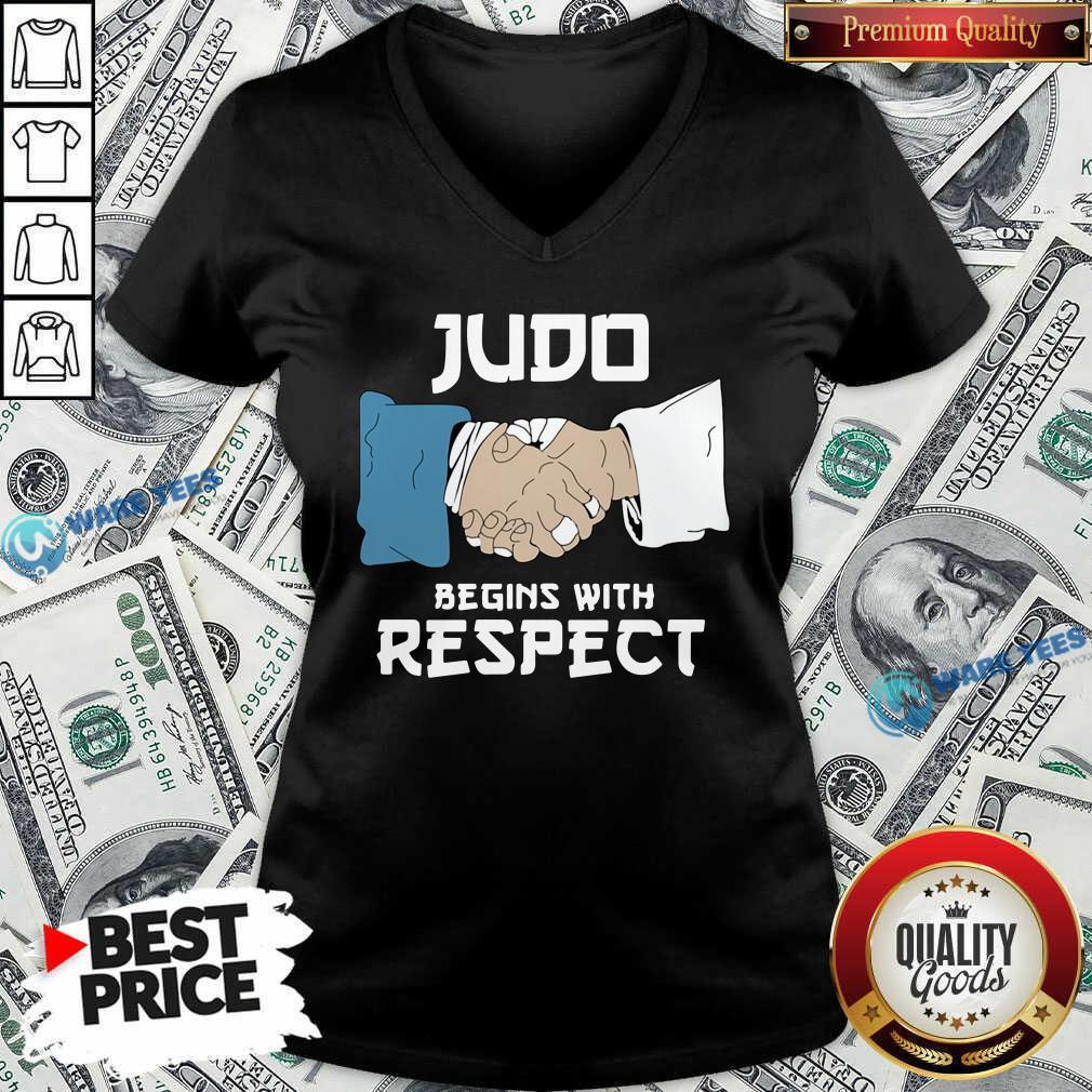 Judo Begins With Respect V-neck- Design By Waretees.com