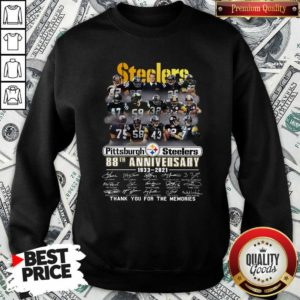Top Steelers Pottsburgh 88th Anniversary 1933-2021 Thank You For The Memories Sweatshirt - Design by Waretees.com