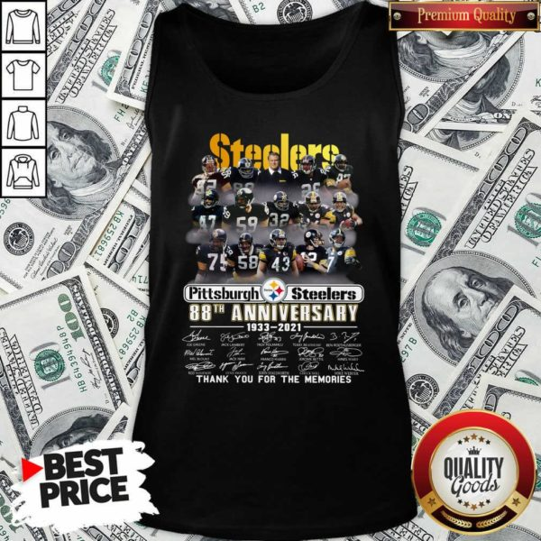 Top Steelers Pottsburgh 88th Anniversary 1933-2021 Thank You For The Memories Tank Top - Design by Waretees.com