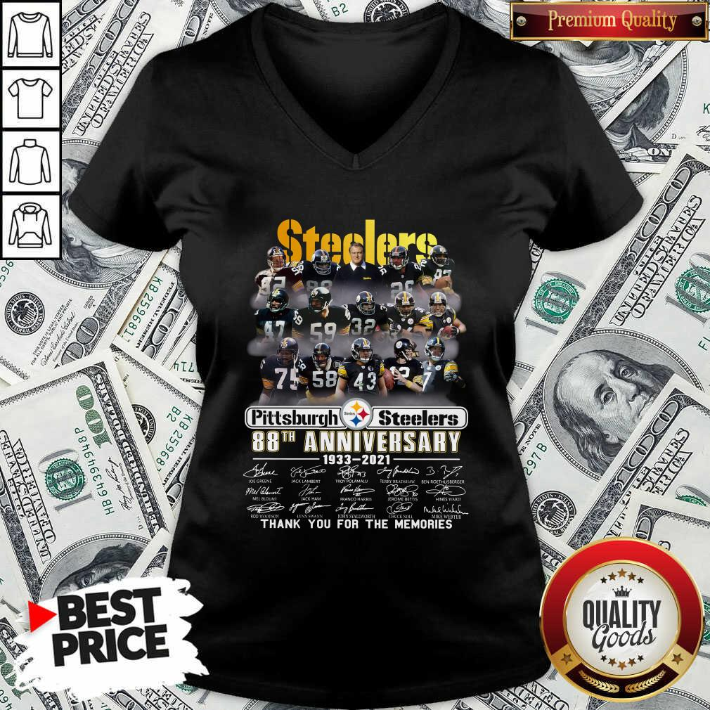 Top Steelers Pottsburgh 88th Anniversary 1933-2021 Thank You For The Memories V-neck - Design by Waretees.com