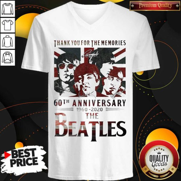 Top Thank You For The Memories 60th Anniversary 1960 2020 The Beatles V-neck - Design by Waretees.com