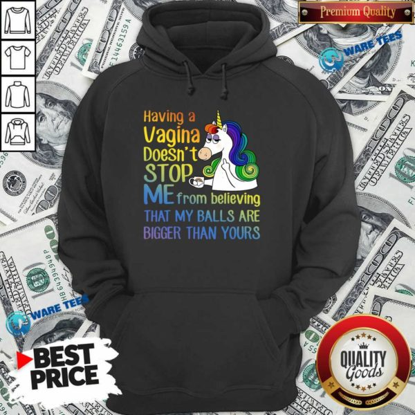 Unicorns Drink Coffee Having A Vagina Doesnt Stop Me From Believing Hoodie- Design by Waretees.com