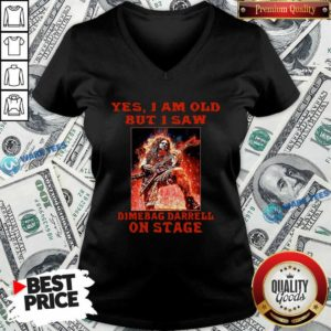 Top Yes I Am Old But I Saw Dimebag Darrell On Stage V-neck - Design by Waretees.com