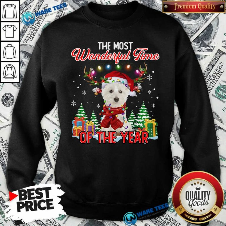 West Highland White Terrier The Most Wonderful Time Of The Year Ugly Christmas Sweatshirt - Design by Waretees.com