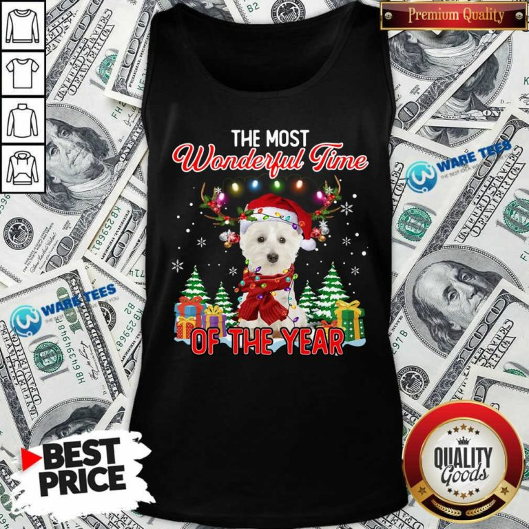 West Highland White Terrier The Most Wonderful Time Of The Year Ugly Christmas Tank Top - Design by Waretees.com