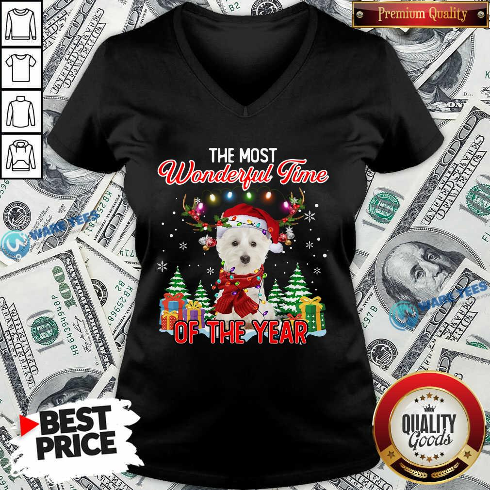 West Highland White Terrier The Most Wonderful Time Of The Year Ugly Christmas V-neck - Design by Waretees.com
