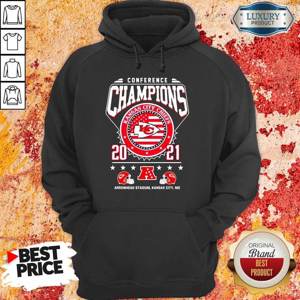 Ashamed Conference Champions Kanas City Chiefs 2021 Arrowhead Stadium Hoodie - Design by Waretees.com