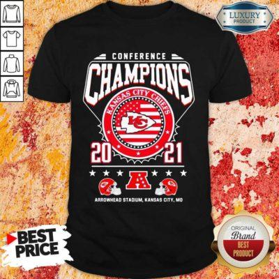 Ashamed Conference Champions Kanas City Chiefs 2021 Arrowhead Stadium Shirt - Design by Waretees.com