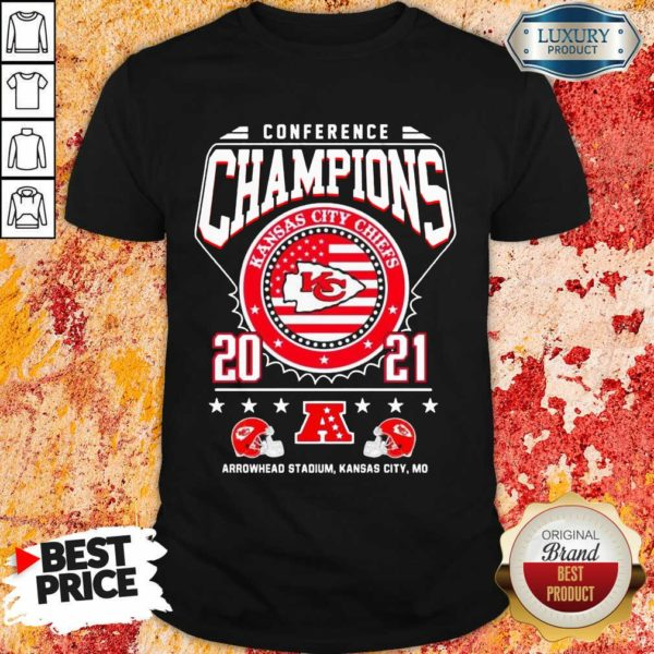 Ashamed Conference Champions Kanas City Chiefs 2021 Arrowhead Stadium Shirt - Design by Waretees.com