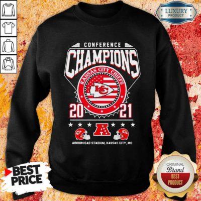 Ashamed Conference Champions Kanas City Chiefs 2021 Arrowhead Stadium Sweatshirt - Design by Waretees.com