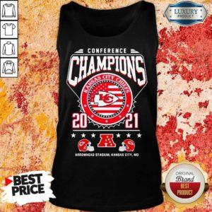 Ashamed Conference Champions Kanas City Chiefs 2021 Arrowhead Stadium Tank Top - Design by Waretees.com