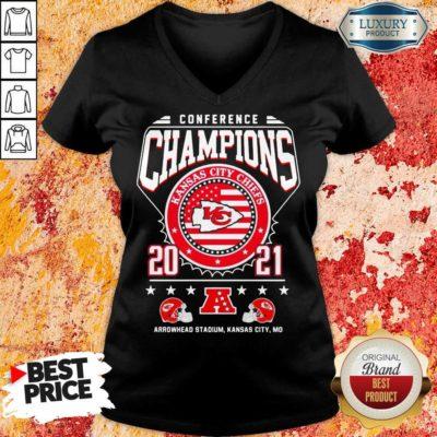Ashamed Conference Champions Kanas City Chiefs 2021 Arrowhead Stadium V-neck - Design by Waretees.com