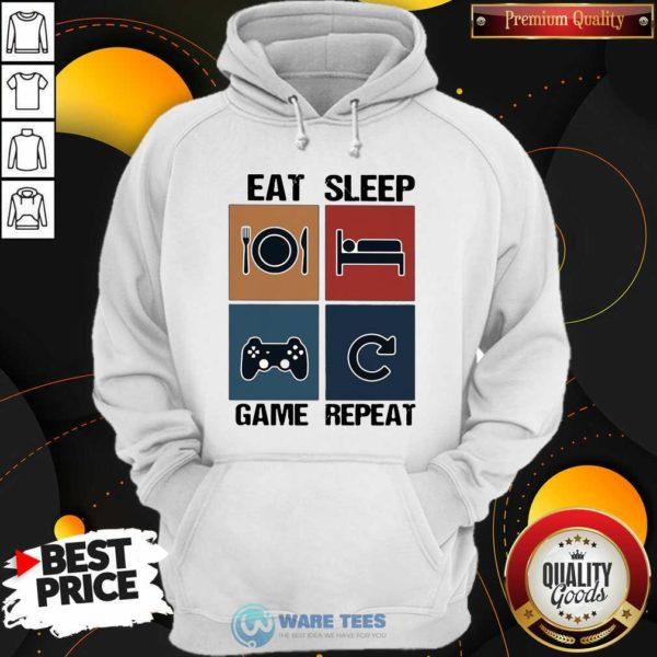 Eat Sleep Game Repeat Vintage Hoodie- Design By Waretees.com
