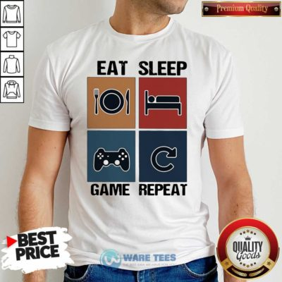 Eat Sleep Game Repeat Vintage Shirt- Design By Waretees.com