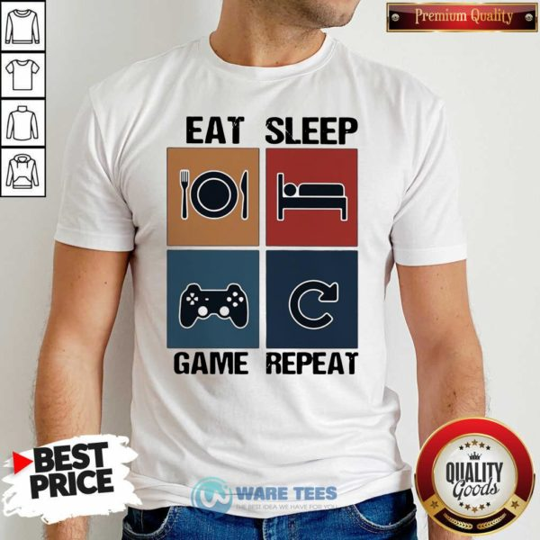 Eat Sleep Game Repeat Vintage Shirt- Design By Waretees.com
