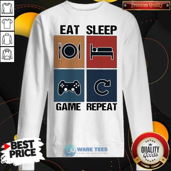 Eat Sleep Game Repeat Vintage Sweatshirt- Design By Waretees.com