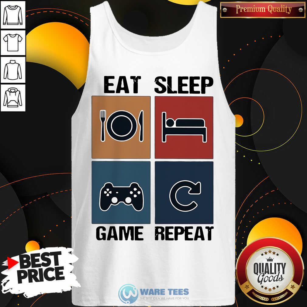 Eat Sleep Game Repeat Vintage Tank-Top- Design By Waretees.com