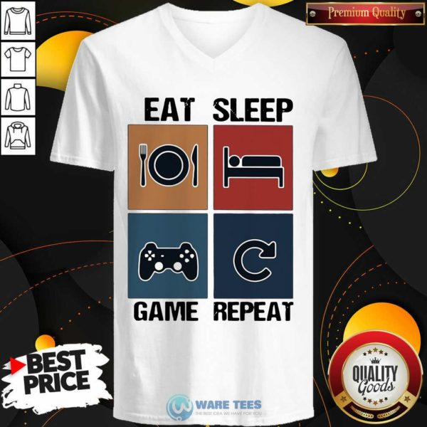 Eat Sleep Game Repeat Vintage V-neck- Design By Waretees.com