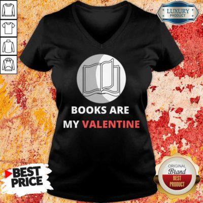 Bewildered 1 Books Are My Valentine V-neck - Design by Waretees.com