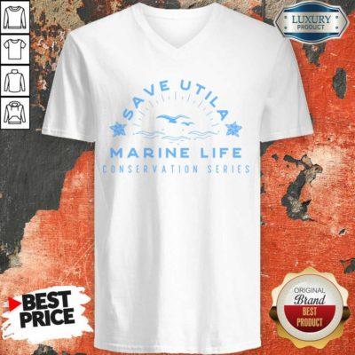 Confident Save Utila Marine Life 4 Conservation Series V-neck - Design by Waretees.com