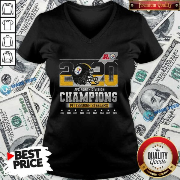 2020 Afc North Division Champions 2020 Pittsburgh Steelers 2002 2004 2007 2008 V-neck- Design By Waretees.com