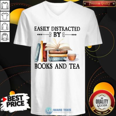 Easily Distracted By Books And Tea V-neck- Design By Waretees.com