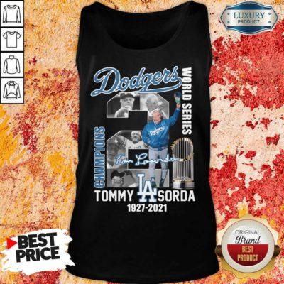 Jaded LA Dodgers World Series Champions 2 Tommy Lasorda Tank Top - Design by Waretees.com