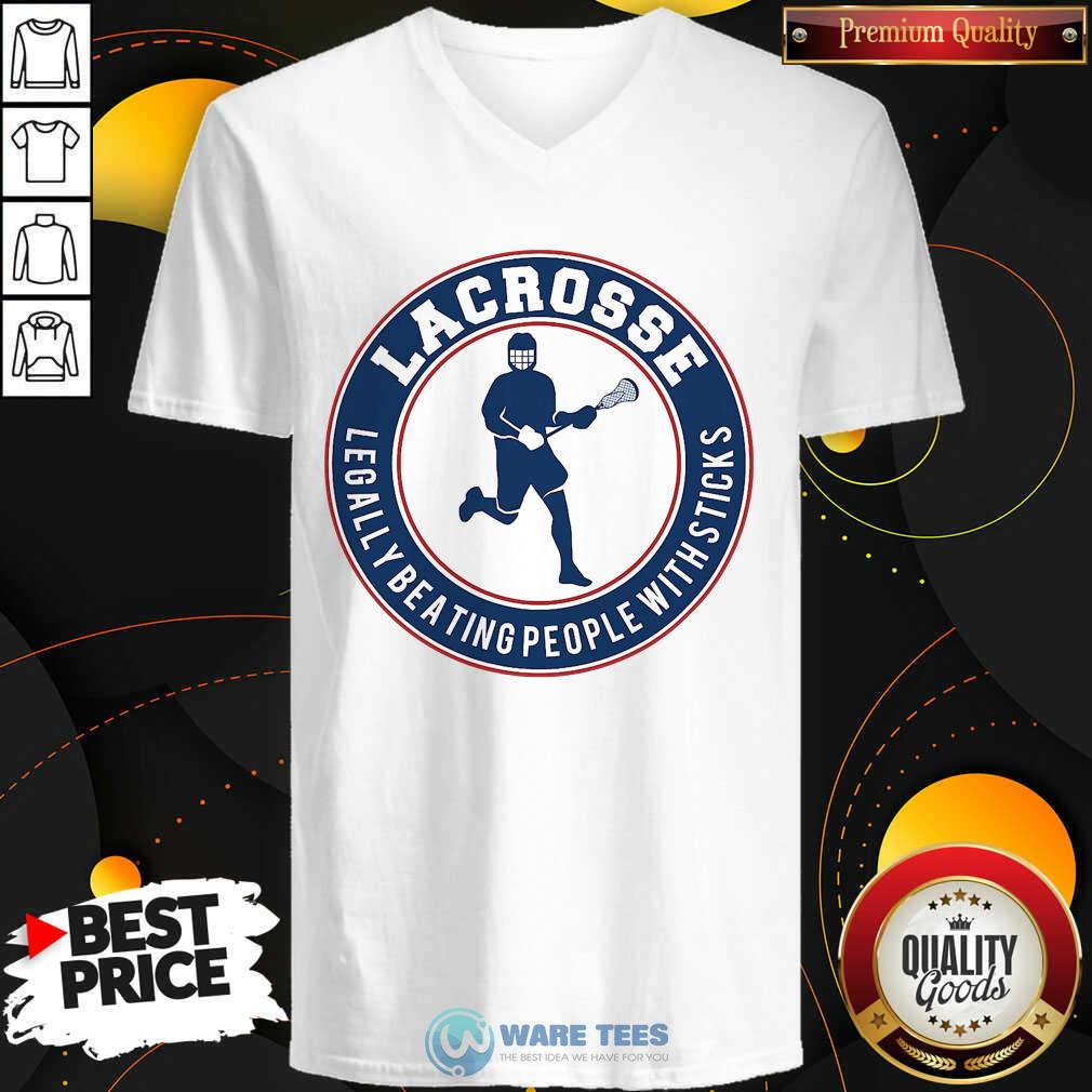 Lacrosse Legally Beating People With Sticks V-neck- Design By Waretees.com