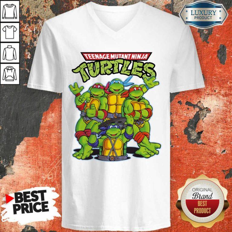Overjoyed Teenage Mutant 11 Ninja Turtles V-neck - Design by Waretees.com