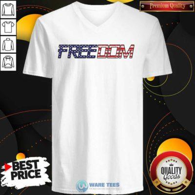 American Flag Patriotic Freedom V-neck- Design By Waretees.com