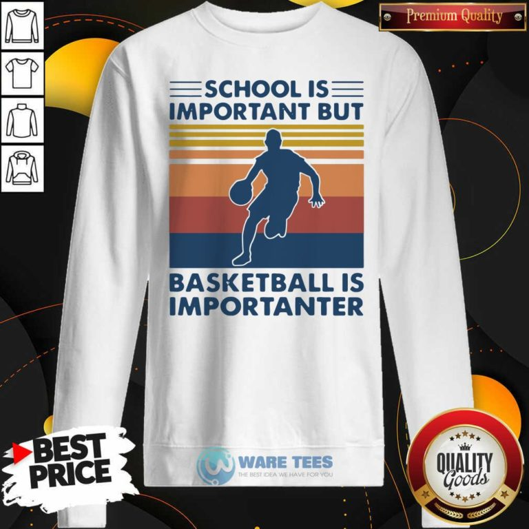 School Is Important But Basketball Is Importanter 2021 Vintages Sweatshirt- Design by Waretees.com