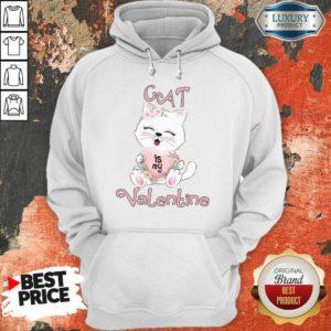 Positive Cat Is My Valentine 7 Hoodie - Design by Waretees.com