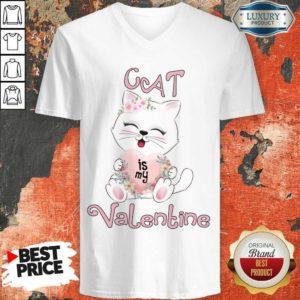 Positive Cat Is My Valentine 7 V-neck - Design by Waretees.com